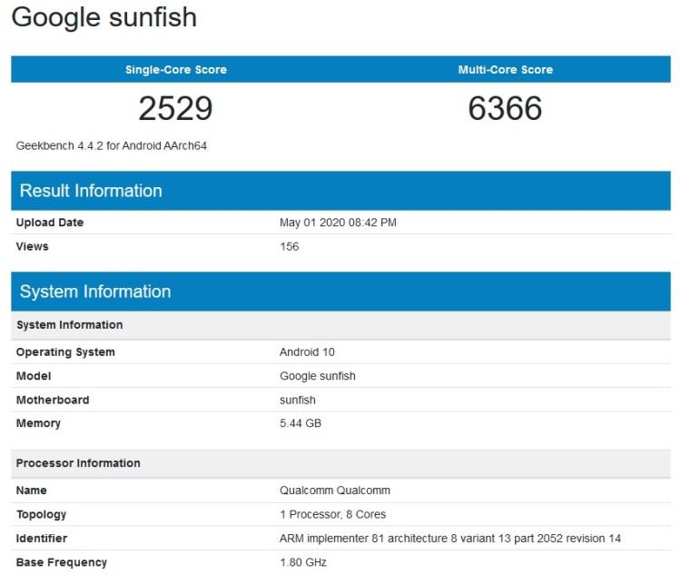 Смартфон Google Pixel 4a замечен в базе бенчмарка Geekbench