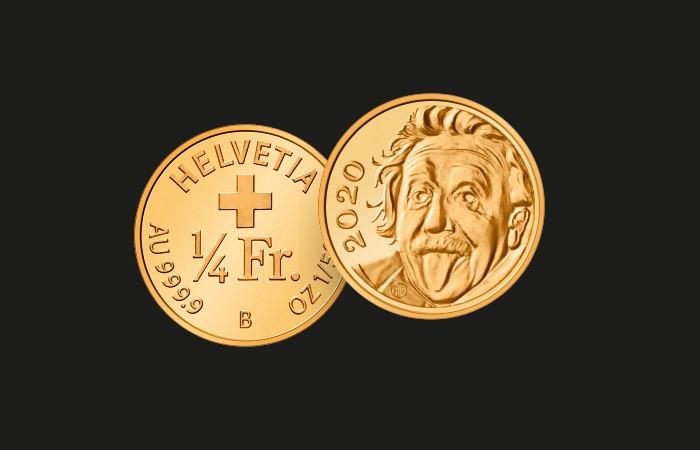 Швейцария выпустила самую маленькую в мире золотую монету с показывающим язык Эйнштейном
