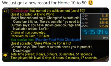 Стример установил мировой рекорд по скоростной прокачке героя в World of Warcraft