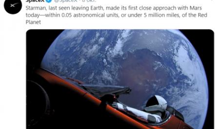 Tesla Roadster Илона Маска пролетел Марс на рекордно близком расстоянии
