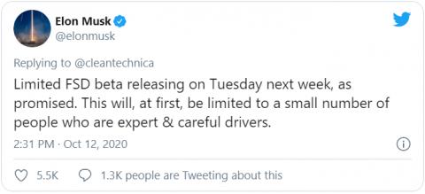 Tesla запускает бета-версию функции полного автопилота