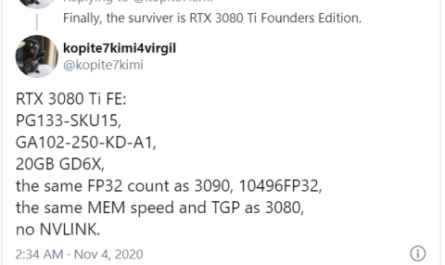 Названы характеристики видеокарты NVIDIA GeForce RTX 3080 Ti