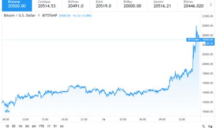 Цена биткойна впервые в истории перевалила за $20 000