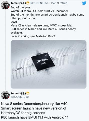 Названа ожидаемая дата анонса HUAWEI P50 и других новинок компании