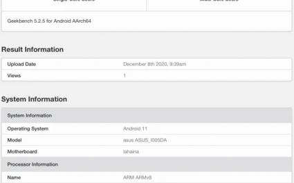 В Geekbench появились результаты тестирования смартфона ASUS на Snapdragon 888