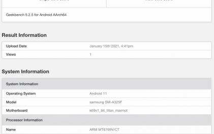 Характеристики 4G-версии Samsung Galaxy A32 раскрыты бенчмарком