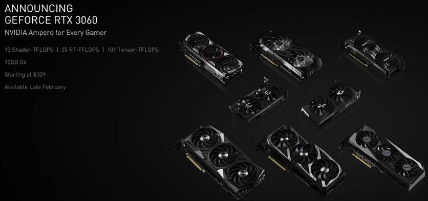 Представлена доступная игровая видеокарта NVIDIA GeForce RTX 3060