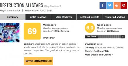 Эксклюзив PlayStation на 69 баллов. Пресса раскритиковала Destruction AllStars