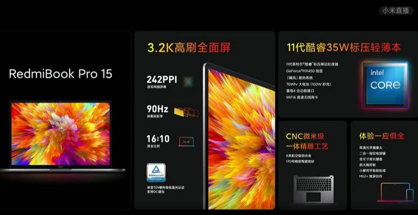 RedmiBook Pro 15: дисплей 90 Гц, новейший процессор Intel и видеокарта NVIDIA