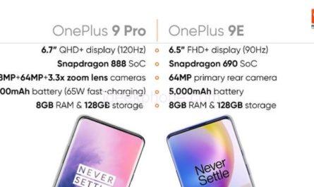 Слух: OnePlus 9e получит среднее «железо» и ёмкий аккумулятор