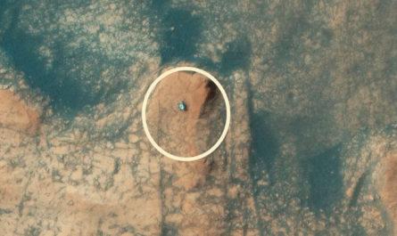 Вид на марсоход Curiosity с высоты 270 км