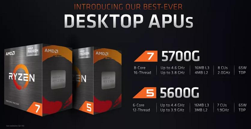 Представлены новые процессоры AMD Ryzen 5000G с графикой Vega