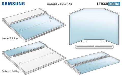 Складной планшет Galaxy Z Fold Tab показали на патентных изображениях