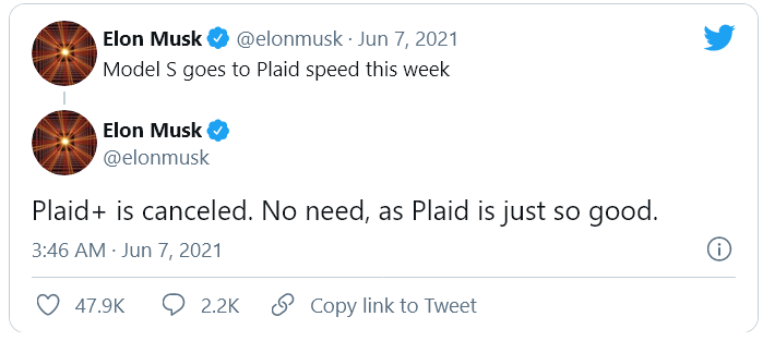 Tesla отказалась от выпуска топовой версии электрокара Model S