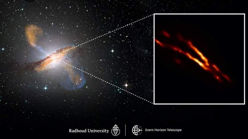 Получена самая чёткая фотография выброса плазмы из чёрной дыры