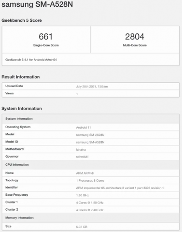 Спецификации Samsung Galaxy A52s 5G раскрыты бенчмарком