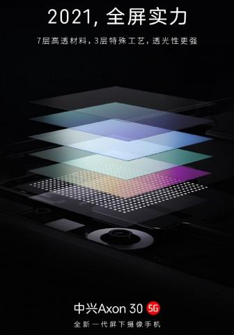 ZTE раскрыла секрет улучшенной подэкранной камеры Axon 30 5G