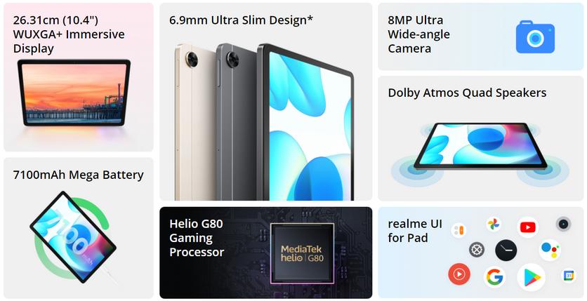 "realme Pad: экран 10,4"", большой аккумулятор и четыре динамика за $190"