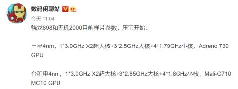 Характеристики флагманских чипов Snapdragon 898 и Dimensity 2000