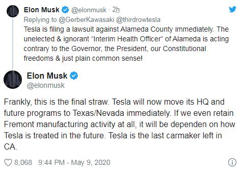 Илон Маск пакует чемоданы: штаб-квартира Tesla может переехать из Калифорнии